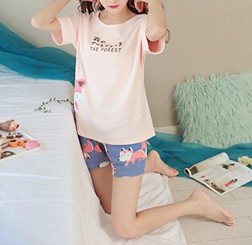 KINYBABY Big Girls Summer Pajama Set Cute Fox Printed Cotton Sleepwear Top&Shorts Pink Fox L by KINYBABY (Image #4)