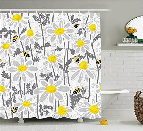 Ambesonne Grey Shower Curtain, Daisy Flowers with Bees in Spring Time Honey Petals Floret Nature Purity Blooming, Cloth Fabric Bathroom Decor Set with Hooks, 75