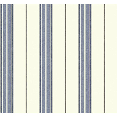 York Wallcoverings NY4935 Nautical Living Bay Stripe 2 Wallpaper, Cream/Chambray Blue/Marine Blue/Beige/Silver (Chambray Wallpaper)