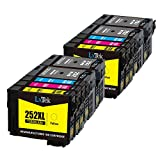 LxTeK Remanufactured Ink Cartridge Replacement Set For Epson 252 252XL High Yield (4 Black|2 Cyan|2 Magenta|2 Yellow) 10 Pack Compatible With Workforce WF-3620 WF-3630 WF-3640 WF-7620 WF-7610 WF-7110