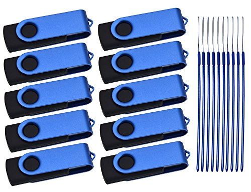 USB Flash Drive 2GB Pack of 10 Thumb Drives Kepmem Multipack Swivel USB Memory Sticks Blue Portable Pendrives for Data Storage
