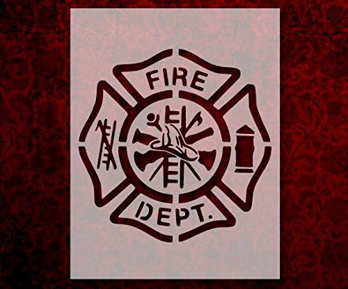 Fire Department Logo Symbol Patch Emblem 8.5 x 11 Inches Stencil (129)
