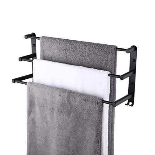 KES 3-Tier Black Towel Bar 24 Inch Bathroom Towel Rack Towel Holder Rustproof Towel Hanger/Slipper Rack with 2 Hooks Wall Mount, BTH400S40DG-BK (Bathroom Towels For Ladder)