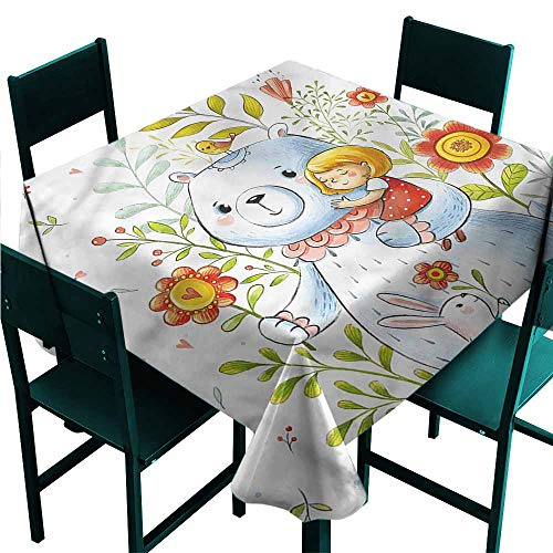 Cartoon Washable Table Cloth Teddy Bear Toy in Garden Indoor Outdoor Camping Picnic W63 x L63