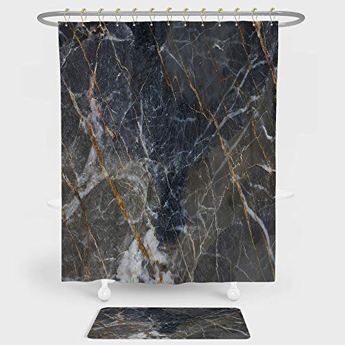 (iPrint Marble Shower Curtain And Floor Mat Combination Set Abstract Medieval Style Architecture Ceramic Textured Artsy Facet Design Decorative For decoration and daily use Charcoal Grey)
