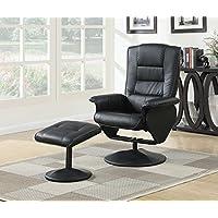 ACME Furniture 59365 2 Piece Arche Recliner Chair & Ottoman, Black