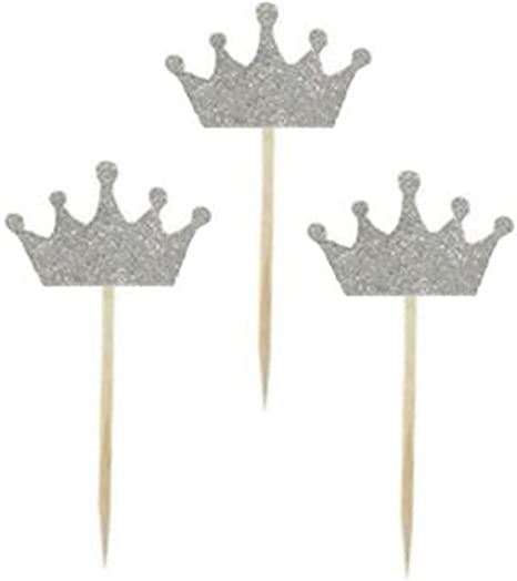 Princess Tiara Cupcake Toppers Princess Birthday Party or Princess Baby Shower Set of 10 Silver Glitter Tiara Toppers