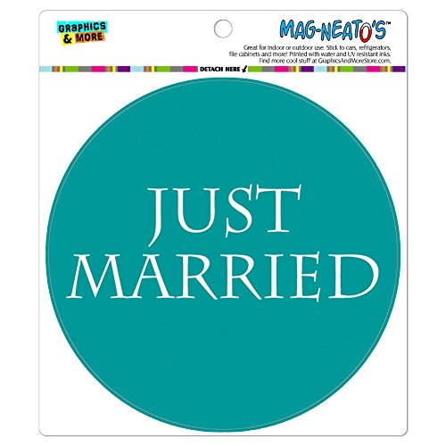 Just Married Auto Clings - Just Married Flower Teal MAG-NEATO'S(TM) Automotive Car Refrigerator Locker Vinyl Magnet