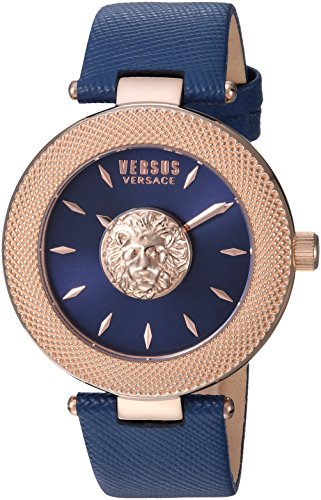 Versus by Versace Men's 'BRICK LANE' Quartz Gold-Tone and Leather Casual Watch, Color:Blue (Model: - Versace Versus Men