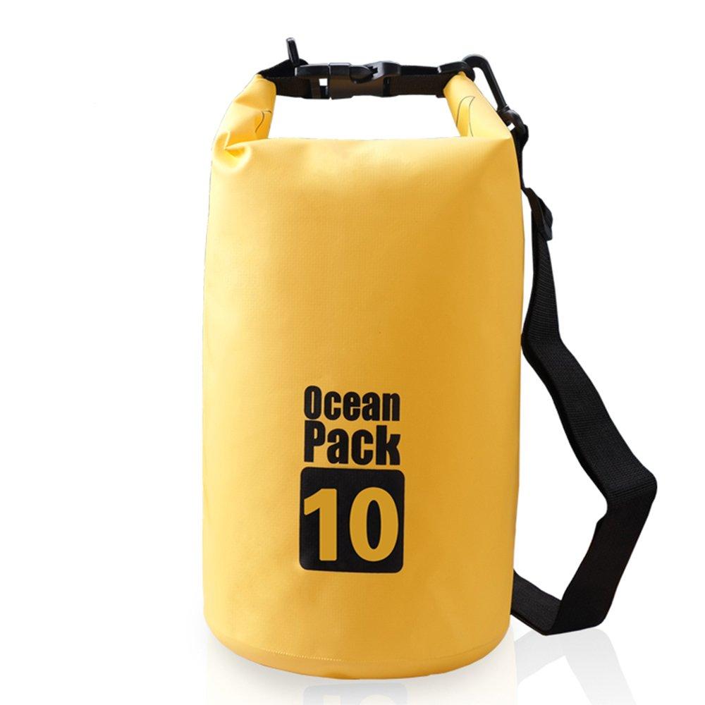 Bear Outdoor Dry Sack/Waterproof Bag for Boating, Kayaking, Hiking, Snowboarding, Camping, Rafting, Fishing and Backpacking 10L Yellow