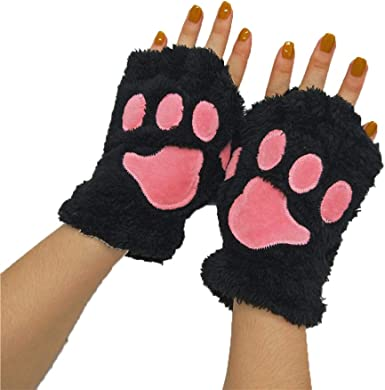Women Cat Paw Winter Gloves Plush Warm Cosplay Gloves Half Finger Cute Gloves Novelty Bear Claw Thermal Mittens for Halloween Cosplay Party Fancy Dress