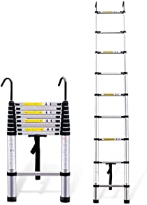 WLABCD Telescopic Ladder Portable Collapsible Ladders,Aluminum Telescoping Ladder with Heavy Duty Hooks, Extension Ladders for Home Use Roof Indoor Outdoor Activities, 330 Lb Max Capacity