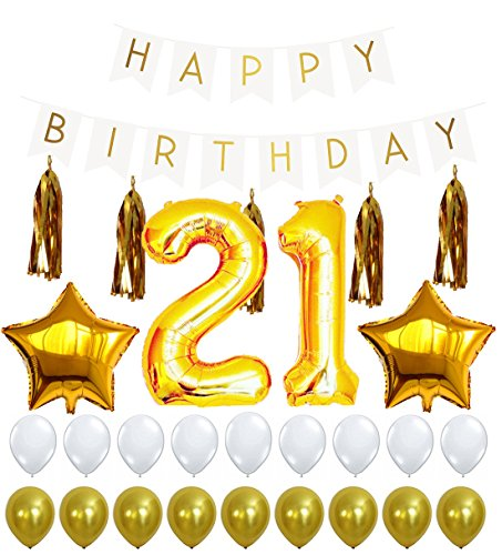 Great Deal! 21st Birthday Decorations Package, 21 Balloon, Happy Birthday White Sign Banner, Gold an...