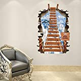 3D Stair Wall Stickers High Quality PVC Scaling Ladder Wall Stickers 3 D Ladder Sky Plane Wall Stickers