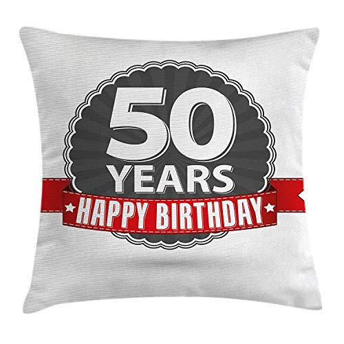 DDBACK 50th Birthday Decorations Throw Pillow Cushion Cover, Retro Label Red Ribbon Classical Old Fashioned Celebratory, Decorative Square Accent Pillow Case, 18 X 18 inches, Grey Red White]()