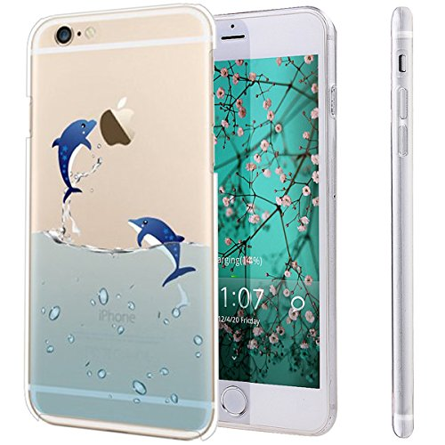 Case Pink Dolphin (iPhone 6S Plus Case,NSSTAR iPhone 6S 6 Plus TPU Case,[Perfect Fit] Soft TPU Crystal Clear [Scratch Resistant] Ocean Park Playing Water Swimming Dolphins Back Case Cover for Apple iPhone 6S/6 Plus 5.5