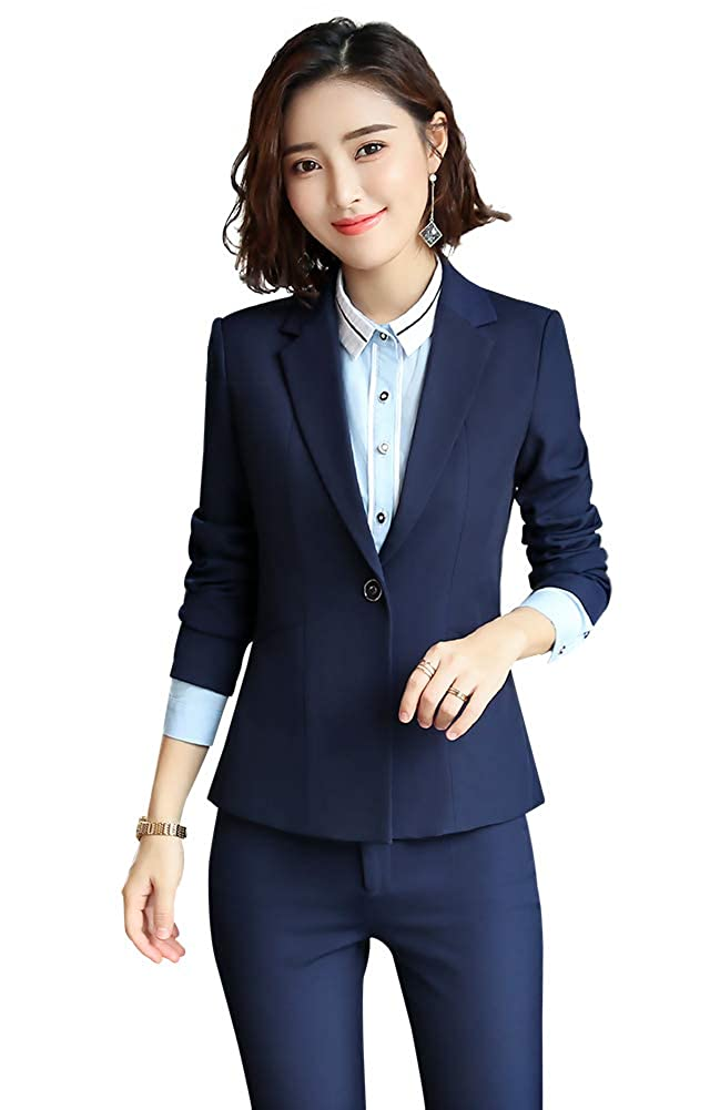 Navy SUSIELADY Women Formal Blazers Two Pieces Solid Work Office Business Suit Lady Blazer Coat