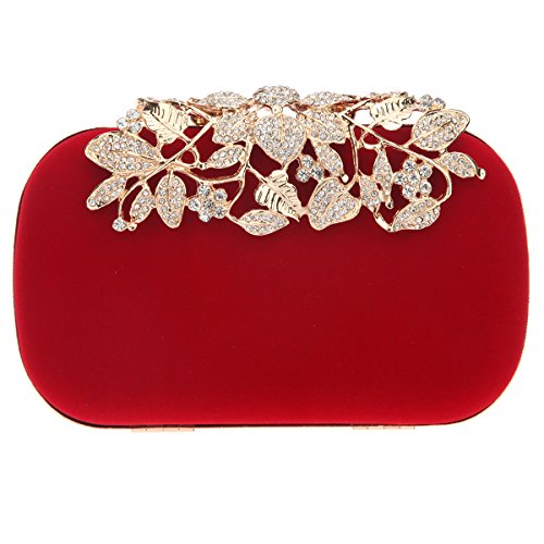 (Fawziya Crystal Flower Velvet Evening Bags And Clutches For Women Clutch Purse-Red)