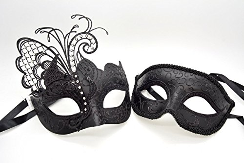 Couple Men Women Black Laser Cut Filigree Glitter Black Venetian Masquerade Mask by ACCmall