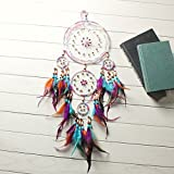Jescrich Large Dream Catcher Wall Hanging with 5 Rings Ornament Home Decor, Dreamcatcher for Kids Gift (31'' Long)