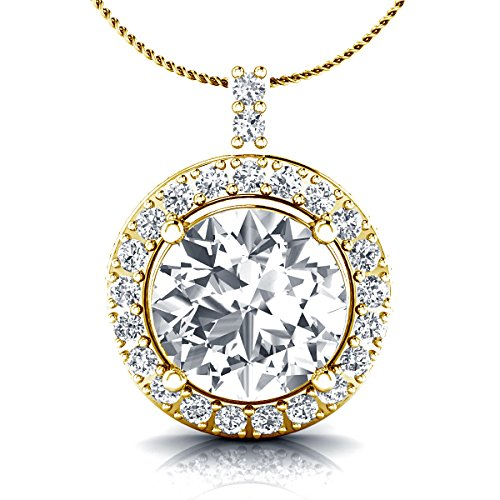 Silver Jewelry 18' Box (925 Sterling Silver Cubic Zirconia Round Solitaire Halo Pendant Necklace 18'' Box Chain)