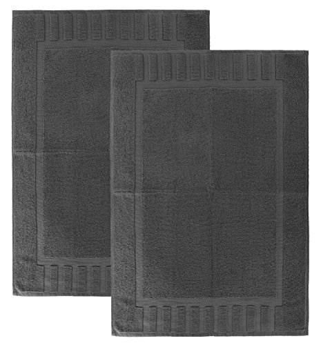 "Luxury Hotel and Spa 100% Cotton Banded Panel Bath Mat Set 22""x34"" (2, Grey)"