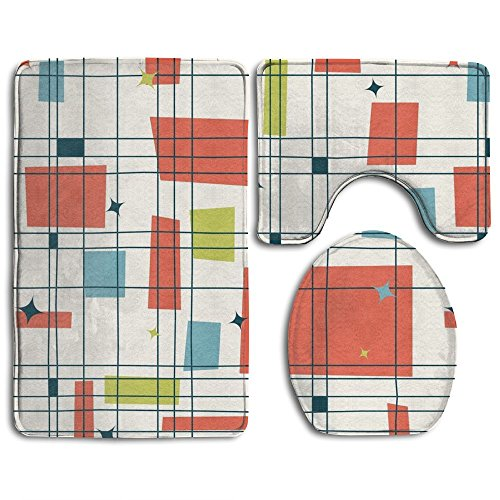 Bath Mat,Abstract Mid Century Modern Grid Bathroom Carpet Rug,Non-Slip 3 Piece Bathroom Mat Set 51xjGbhqw 2BL