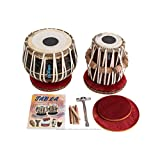 MAHARAJA Tabla Drum Set, 3KG Black Brass Bayan, Finest Dayan with Book, Hammer, Cushions & Cover (PDI-EA)