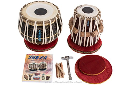 MAHARAJA Tabla Drum Set, 3KG Black Brass Bayan, Finest Dayan with Book, Hammer, Cushions & Cover (PDI-EA) by Maharaja Musicals