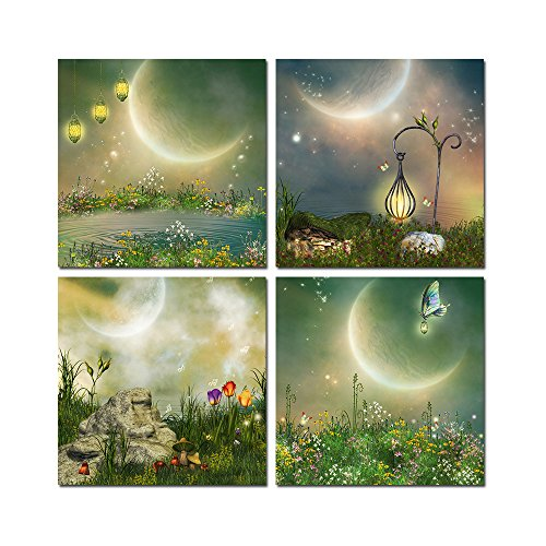 Fairy Framed Print - Purple Verbena Art 4pcs Fantasy Fairy Tale Dreaming Word Picture Prints on Canvas Wall Artwork Painting, 12x12 Inch Giclee Contemporary Framed Painting for the Walls of the Room House, Ready to Hang