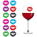 """""""Kiss"""" Lips Lipstick Print Silicone Drink Markers, Set of 12"""