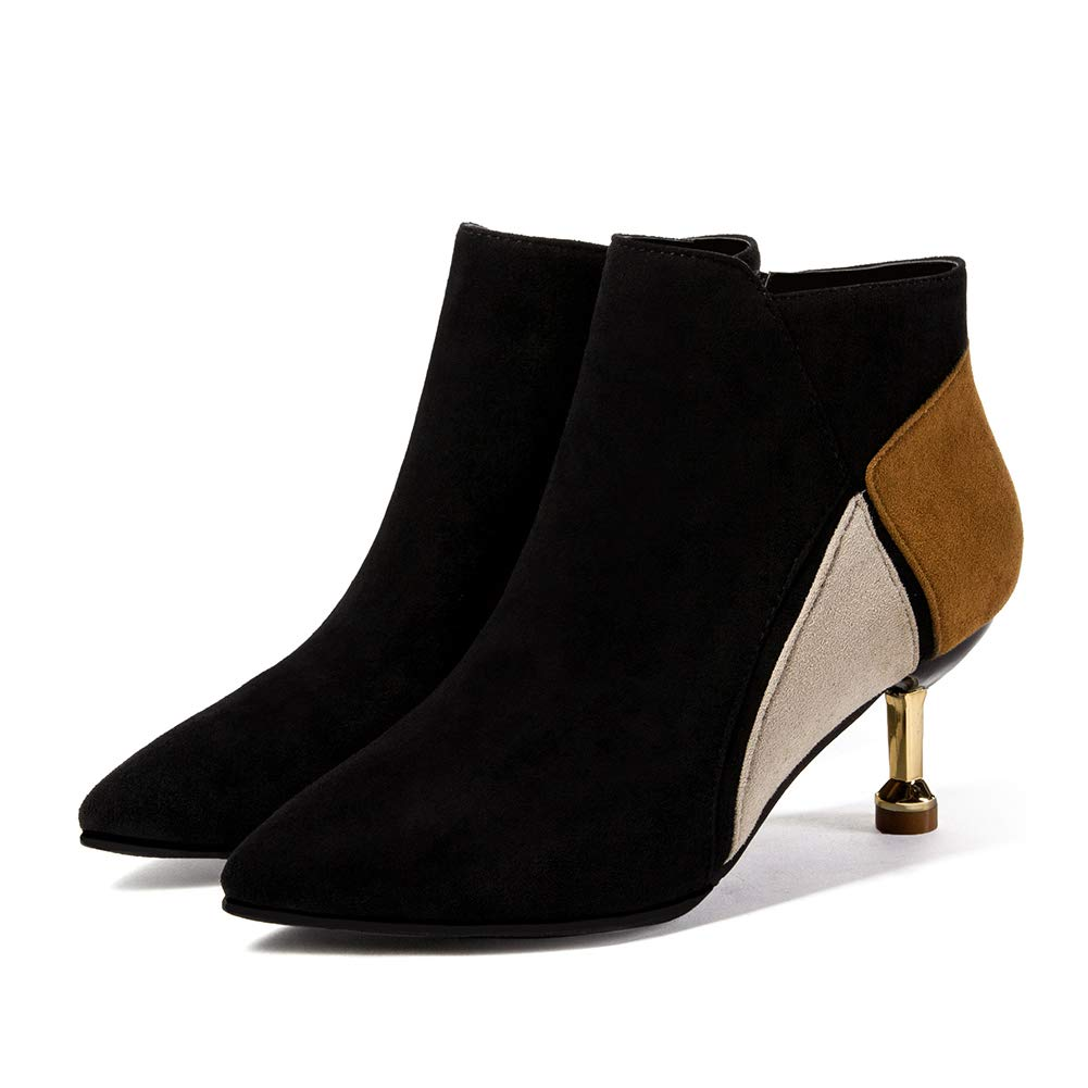 Stiefel Stiefeletten Kurz Stiefeletten Schuhe Winterstiefel Schlupfstiefel Warm Gemischte Gemischte Gemischte Farben Spitze Stiefel Nubukleder Stiefel Frauen ZHAOYONGLI (Farbe   braun, größe   36 (22.5cm-23.0cm)) 49cea4