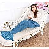 AOOK HOMEMADE Mermaid Tail Blanket Crochet, Warm Sofa Quilt Super Soft All Seasons Sleeping Blankets,Handmade Mermaid Tail Blanket for Adults,77''x38'' 195cmX95cm (Lake Blue)