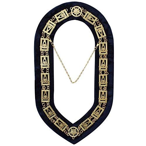 Zest4Canada Masonic Past Master Chain Collar Gold Plated Blue Velvet Backing+FreeCase