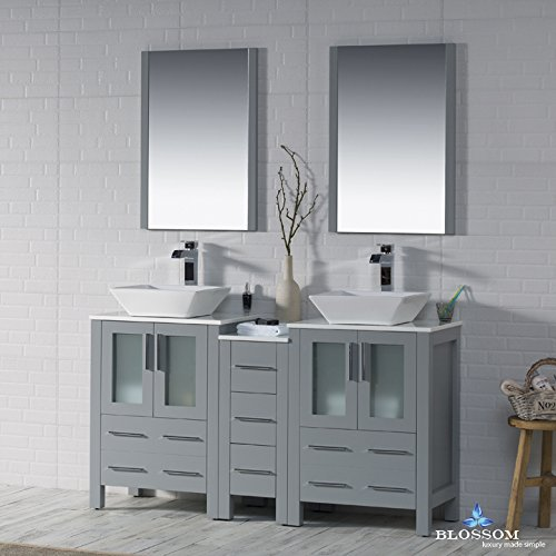 BLOSSOM 001-60-15-D-1616V Sydney 60'' Double Vanity Set with Vessel Sinks and Mirrors Metal Gray