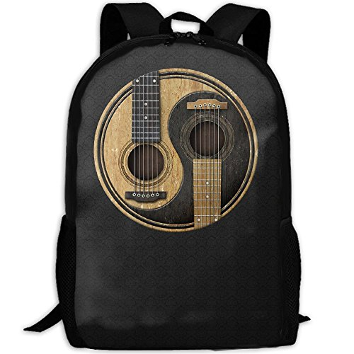 Acoustic Guitars Yin Yang Interest Print Custom Unique Casual Backpack School Bag Travel Daypack Gift (Yang Bag)