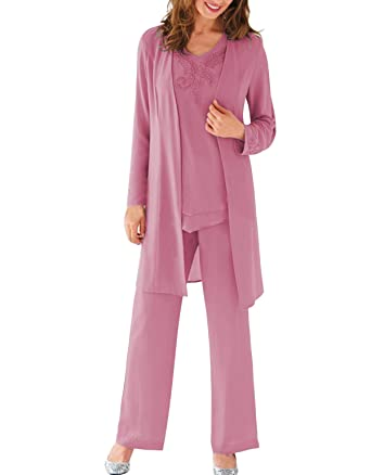 a50a657a178 Fitty Lell Women s Modest Chiffon Long Mother of The Bride Pant Suits with  Jacket Mothers Groom