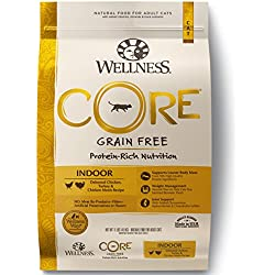 Wellness CORE Grain Free Natural Indoor Dry Cat Food, Chicken & Turkey, 11-Pound Bag