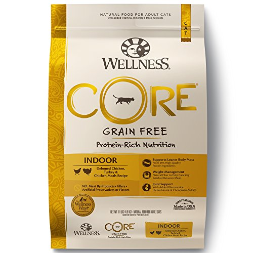 Free Original Formula - Wellness Core® Natural Grain Free Dry Cat Food, Indoor Chicken & Turkey Recipe, 11-Pound Bag