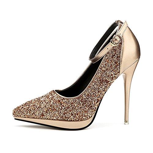 Primavera y Otoño Señoras Shiny High Heels Shallow Mouth Moda Solo Zapatos Puntiagudos High Taels 5 Colors Opcional GAOLIXIA Metallic