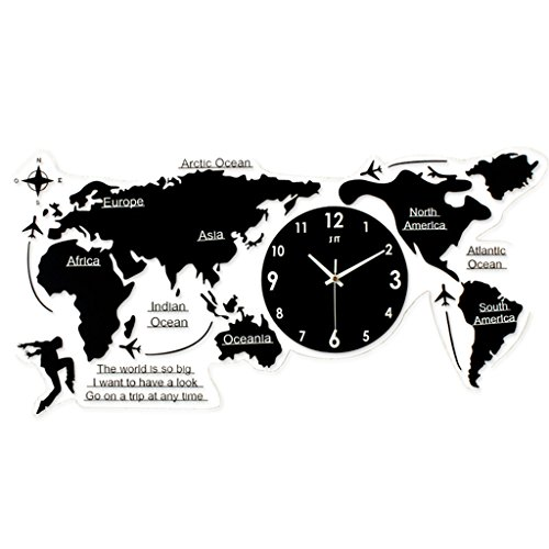 Wall Quartz Mute Clock (WEEDAY Mute Wall Clock Acrylic Black World Map Mute Scan Living Room Office Wall Decoration Clock Quartz clock decoration)