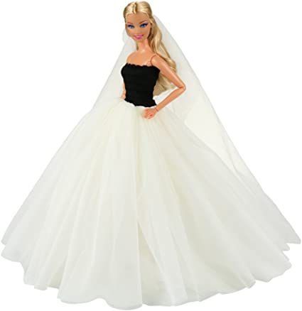 BARWA Beige Wedding Dress with Veil Evening Party Princess Beige Gown Dress for 11.5 Inch Girl Doll