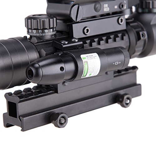 51xjI6p8aOL - Pinty AR15 Rifle Scope 3-9x32EG Rangefinder Illuminated Optics Reflex 4 Reticle Red&Green Sight Green Dot Laser Sight with 22 & 11mm Weaver/Picatinny Rail Mount