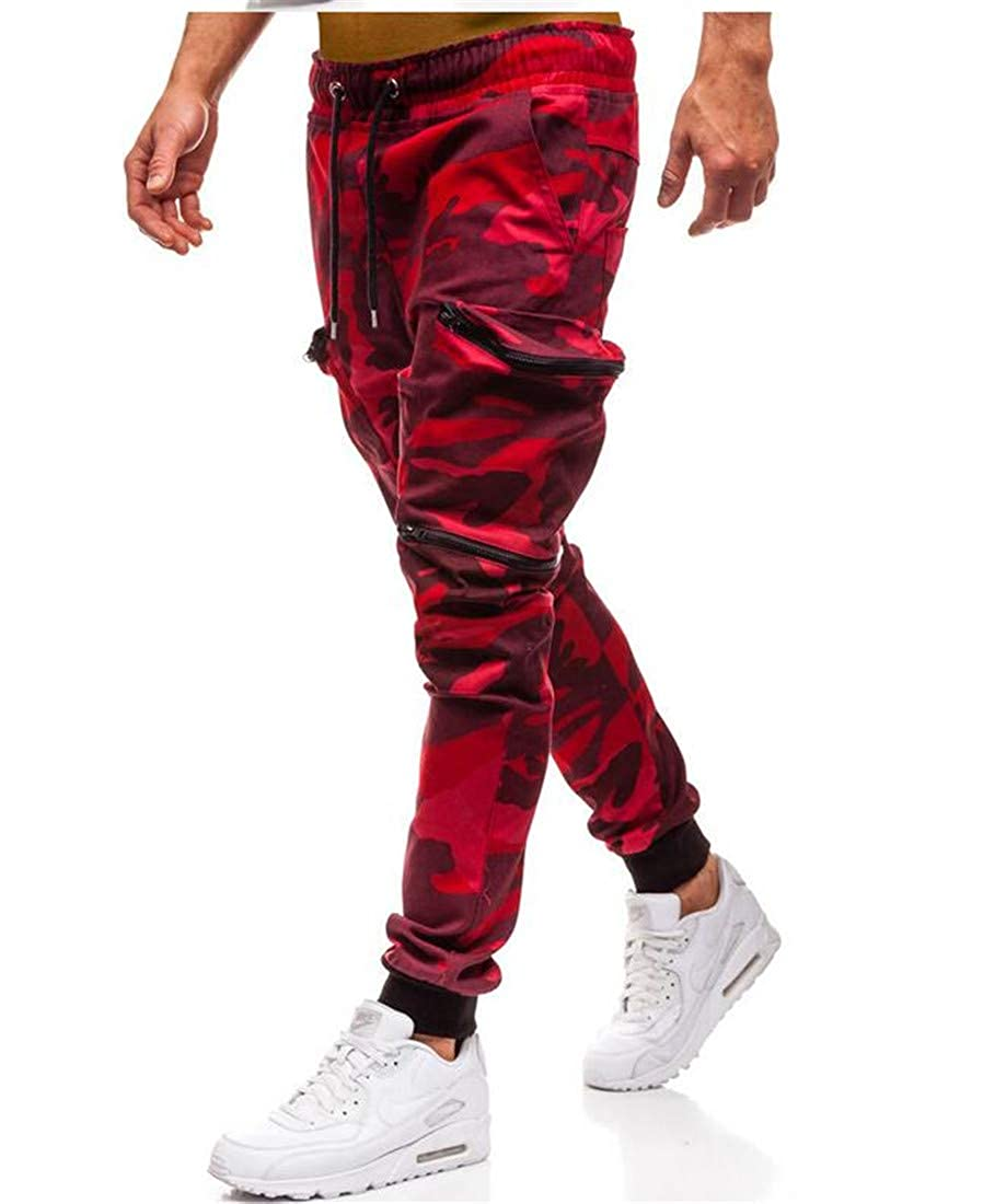 Lutratocro Mens Elastic Waist Athletic Pure Color Trousers Multi Pockets Pants
