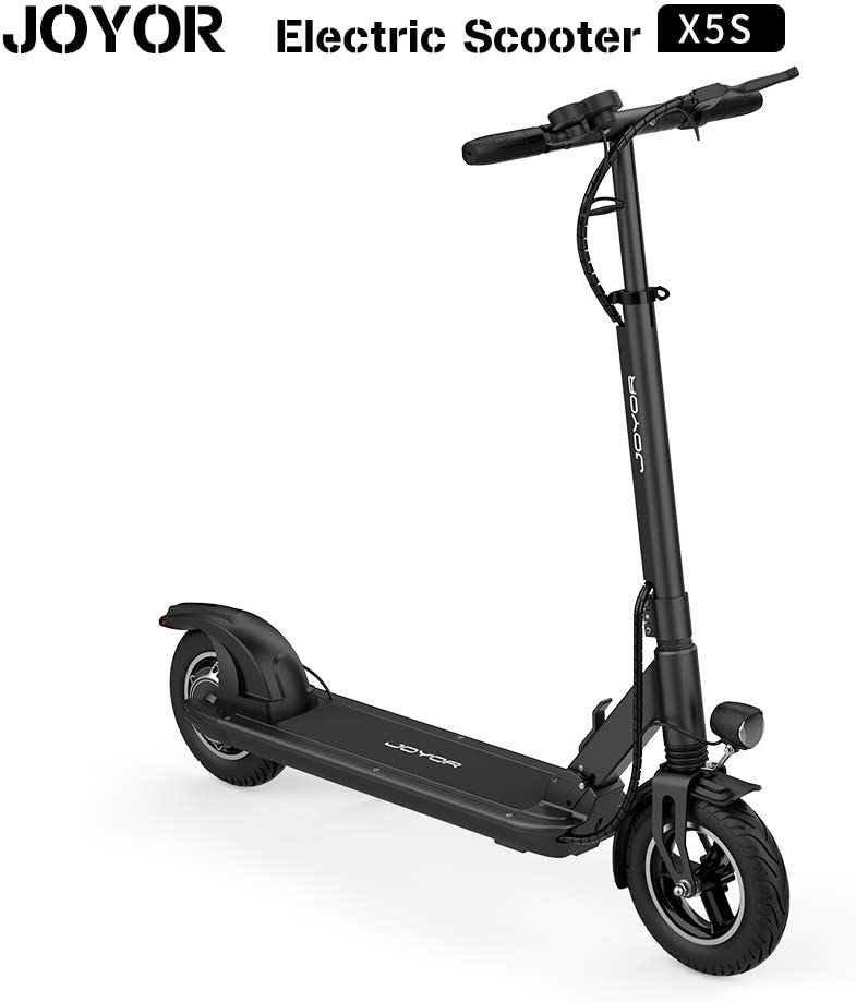"JOYOR X5S Electric Scooter - 500W Motor 10"" Aire Tires Up to 40.3 Miles One-Step Fold, Ultra-Lightweight Adult Electric Foldable Scooter for Commute and Travel(Black)"