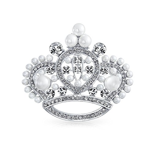 Bling Jewelry Large Statement Fashion Crystal White Simulated Pearl Queen Princess Crown Brooch Pin for Women Rhodium Plated