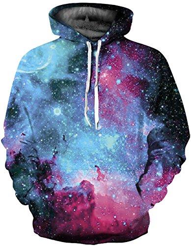 (SAINDERMIRA Unisex Fashion 3D Digital Galaxy Pullover Hoodie Hooded Sweatshirt Athletic Casual with Pockets(Blue Sky, L/XL))