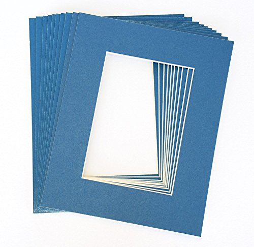Pack of 10 BLUE 11x14 Picture Mats Matting with White Core Bevel Cut for 8x10 (Blue Picture Mats Matting)