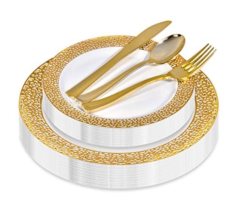 125 Piece Elegant Gold Lace Disposable Plates with Gold Plastic Flatware - 25 Plastic Dinner Plates, 25 Plastic Appetizer Plates, 25 Gold Forks, 25 Gold Spoons, 25 Plastic Knives (Gold Lace) ()