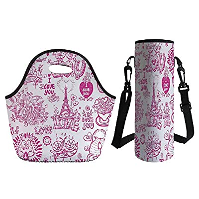 3D Print Neoprene lunch Bag with Kit Neoprene Bottle Cover,Doodle,I Love You Valenties Design Hugging Touching Singing Hearts Coffee Expressing Affection,Pink,for Adults Kids
